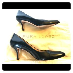 Pura Lopez navy patent heels